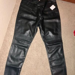 NWT Free People Black Faux Leather Pants